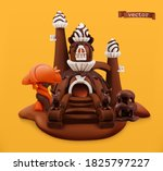 sweet chocolate castle. 3d... | Shutterstock .eps vector #1825797227