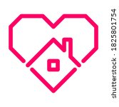 stay home  pink heart  home... | Shutterstock .eps vector #1825801754