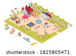 Amusement Park Flat Isometric...