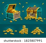 piratic trunks chests with gold ...   Shutterstock . vector #1825807991