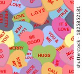 colorful candy hearts seamless... | Shutterstock .eps vector #1825852181