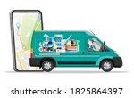 van for delivery pharmaceutical ... | Shutterstock .eps vector #1825864397