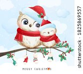 cute doodle owl for christmas... | Shutterstock .eps vector #1825869557