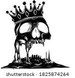 hand drawn king skull wearing... | Shutterstock .eps vector #1825874264