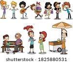 group of happy cartoon people.... | Shutterstock .eps vector #1825880531