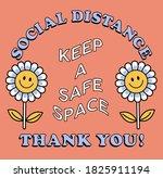 retro positive flower vector... | Shutterstock .eps vector #1825911194