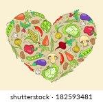 heart from vegetables. vector... | Shutterstock .eps vector #182593481