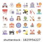 happy halloween flat vector... | Shutterstock .eps vector #1825956227