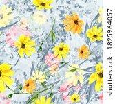 Seamless Watercolour Sunflowers ...