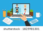 learning or meeting online with ... | Shutterstock .eps vector #1825981301