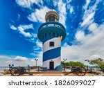Small photo of Lighthouse of Santa Anna fort Las Penas district landmark of Guayaquil Ecuador in south america