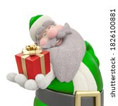 Santa Is Holding A Gift  3d...