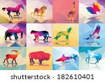 Collection of geometric polygon animals, horse, lion, giraffe, butterfly, elephant, leopard, wolf, eagle, deer, buffalo, shark, vector illustration