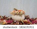 White Pumpkin Decoration With...