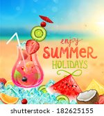 summer holidays vector... | Shutterstock .eps vector #182625155