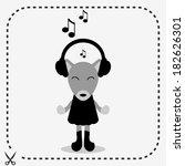 cute fox in headphones... | Shutterstock .eps vector #182626301