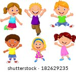 happy kids cartoon | Shutterstock .eps vector #182629235