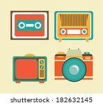 antique tv design over pink... | Shutterstock .eps vector #182632145