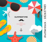 Summertime traveling template with beach summer accessories, vector illustration.  | Shutterstock vector #182637485