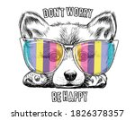 cute corgi dog in a rainbow... | Shutterstock .eps vector #1826378357