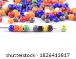 Multi colored beads spread on...
