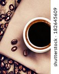 cup of coffee with coffee beans ... | Shutterstock . vector #182645609