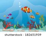 multicolor fish in marine life | Shutterstock .eps vector #182651939