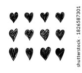 beautiful set of black hearts . ... | Shutterstock .eps vector #1826587301