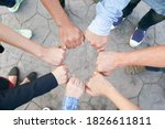 Small photo of hand up of people working assemble corporate meeting show symbol Join forces teamwork quality and effective personnel Concept organizational development in teamwork and business