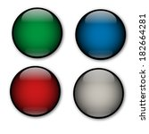 glass vector buttons  dark... | Shutterstock .eps vector #182664281