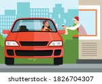 driver in car takes fast food... | Shutterstock .eps vector #1826704307