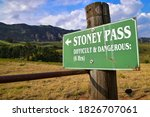 Small photo of Stoney Pass sign post, a beautiful difficult and strenuous 6h hike with amazing spectacular mountain views, Drakensberg, South Africa