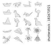 cartoon image of origami set | Shutterstock . vector #182673521