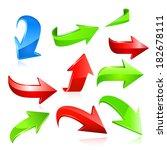 arrow icon set. raster copy. | Shutterstock . vector #182678111