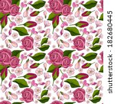 pattern with  red roses.... | Shutterstock . vector #182680445