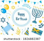 happy bar mitzvah set.... | Shutterstock .eps vector #1826882387