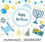 happy bar mitzvah set.... | Shutterstock .eps vector #1826882387