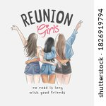 reunion girl slogan with hand... | Shutterstock .eps vector #1826919794