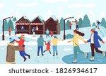 people in winter park. cartoon... | Shutterstock .eps vector #1826934617