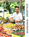 greengrocer owner of a small... | Shutterstock . vector #182697419