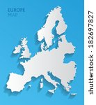 vector europe map card paper | Shutterstock .eps vector #182697827