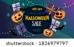 halloween sale poster with gift ... | Shutterstock .eps vector #1826979797