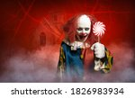 An Eerie Clown In Front Of A...