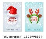 santa cap and deer headband....   Shutterstock .eps vector #1826998934