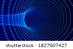 abstract tunnel of dots and... | Shutterstock . vector #1827007427