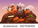 sweet factory. chocolate castle ...   Shutterstock .eps vector #1827036404