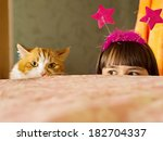 Stock photo funny caucasian girl look out from the bed 182704337