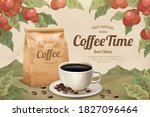 engraving style black coffee... | Shutterstock .eps vector #1827096464