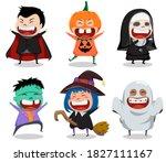 halloween vector character set. ... | Shutterstock .eps vector #1827111167