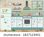 dirty messy house kitchen... | Shutterstock .eps vector #1827123401
